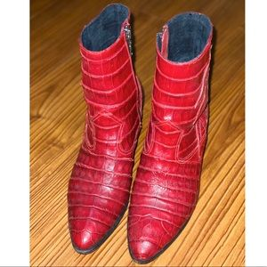 Modern Vice red crocodile leather boots